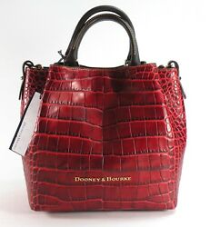NWT DOONEY AND  & BOURKE Crocodile Leather SMALL BARLOW bag Red  Black  $348