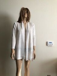 Women's  NWT Alfani Petite High-Low 100% Linen Cardigan Bright White