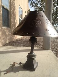 Sold pierced Metal Tin Marbles Table Lamp. Never Used.