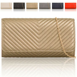 Designer Women Faux Leather Clutch Bag Bridal Ladies Evening Thread Party Prom
