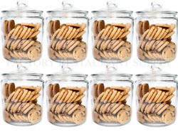 8 Pack 1 Gallon Glass Cookie Coffee Candy Storage Display Jar W/ Lid Commercial