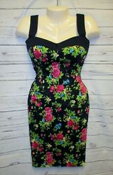 Switchblade Stiletto S Dress Rockabilly Pencil Wiggle Floral Sweetheart Pin up