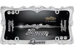 Queen License Plate Frame - Chrome With Clear Bling Crystals - Wi. Diamond Caps
