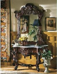 Hapsburg Empire Hand Carved Mahogany Console Table With Marble And Wall Mirror