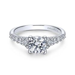New Gabriel And Co. Round Straight Engagement Ring Setting Er11755r3w44jj
