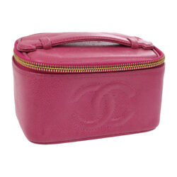 Authentic CHANEL CC Cosmetic Hand Bag Vanity Pink Caviar Skin Leather AK02462