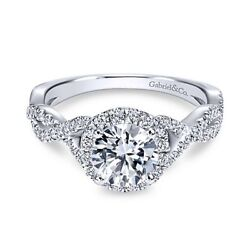 New Gabriel And Co. Round Halo Engagement Ring Setting Er7543w44jj