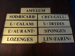 24k Gold Reverse Painted Glass Mirror Apothecary / Medical Cabinet Drawer Signs