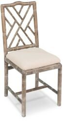 39 H Set Of Two Bamboo Side Chair White Wash Solid Oak Wood Linen Fabric