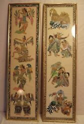 Pair Of Antique Paintings On Silk From India 10x35 1/2 Holds 9 1/2 X 34 3/4