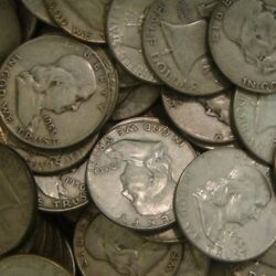 1 Roll 20 Coins 10 Franklin Half Dollars , 90 Silver Coin Lot, Circulated