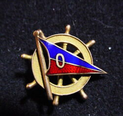 Ocean Yacht Club Enameled Blue And Red Pennant With O On Ships Wheel 14k Gold Pin