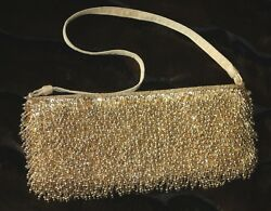 Bead azzeling Inge Christopher Gold Evening Event Clutch Purse Bag FREESHIP $14.75