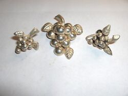 Vintage Early 1900's Sterling Silver Pin And Screw Earrings .925 Mexico Nice
