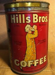 Old Vintage Hills Brothers Coffee Tin San Francisco 2 Lbs 1922 Red Advertising