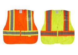 50pcs Class 2 High Visibility Two Tone Safety Vest W/ Front/back Strips Pockets