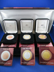 1999 - 2000 - 2001 Millennium Coin Series Boxed Set. The Past Present Future