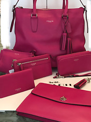 NWT Coach Legacy *FUSCHIA* Leather 7-Piece SET! Handbag Wallet Satchel