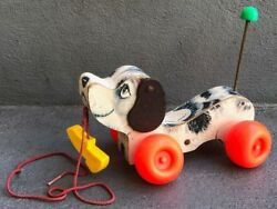 Vintage Fisher-price Pull Toy Dog With Shoe Little Snoopy