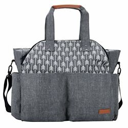 Lekebaby Large Diaper Bag Tote Satchel Messenger for Mom and Girls in Grey