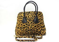 AUTHENTIC PRADA Calf Hair Leather Leopard Design 2Way Hand Bag Brown and Black
