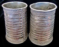 Stunning And Fine Antique Tribal Silver Arm Cuffs /upper Arm Bracelets /tankards