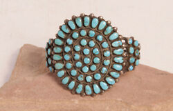 Navajo Silver And Turquoise Cluster Bracelet Fits Up To 6 3/4 Wrist C.1950