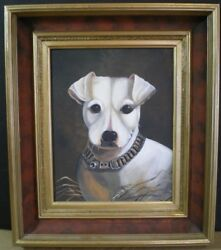 Primitive portrait white terrier antique frame-Jenny Salsini