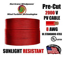 8 Awg Gauge Pv Wire 1000/2000 Volt Pre-cut 15-500 Ft For Solar Installation Red