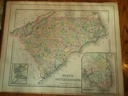 Antique Map Of North Carolina And South Carolina From An 1893 Mitchell's Atlas