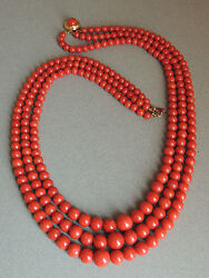 Gorgeous Natural Red Coral Bead Necklace 18k Gold Clasp 87 Grams