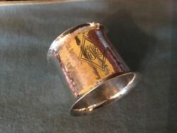 Gorham 1916 Antique Hand Hammered Arts And Craft Sterling Silver Napkin Ring 2548b