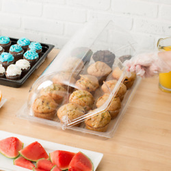 3 Pack Roll Top Cover Tray Countertop Display Bakery Donut Pastry Sample Case
