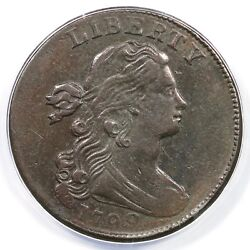 1798 S-166 Anacs Ef 40 Draped Bust Large Cent Coin 1c