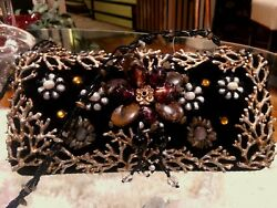 MARY FRANCES PURSE EVENING BAG BLACK VELVET CORAL PEARLS STONES BEADS