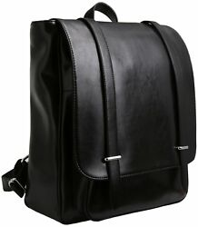 Iswee Women Leather Backpack Casual Daypack Fashion School Bag For Girls (Black)