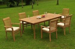Dsms A-grade Teak 7pc Dining Set 118 Rectangle Table 6 Stacking Arm Chair Patio