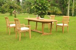 Dsms A-grade Teak 5pc Dining Set 94 Mas Oval Table Stacking Arm Chair Outdoor
