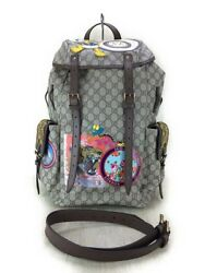 Gucci 473869 GG Supreme Leather Backpack Shoulder Day Bag Multi Color 17SS Used