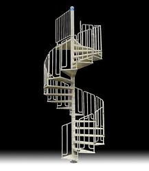 Spiral Staircase Mod. Thor - Galvanized And Painted - Modular Kit - Usa