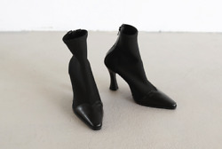 Handmade] Women Leather Ankle Boot Gros Grain Booties Point Toe Madame Shoes Mid