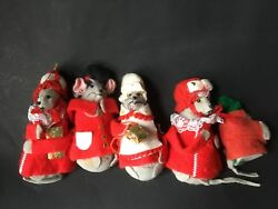 VINTAGE Christmas Felt Mouse ornaments Lot of 5 Nutcracker Holiday Figures 3
