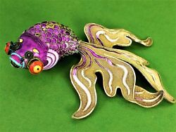 Chinese Fish-carassius. Articulated. Silver Vermeil. Cloisonnandeacute. China. Circa1920