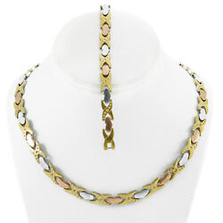 Hugs And Kisses Necklace Bracelet Set Stampato Stainless Steel Three Tone Dc 18/20