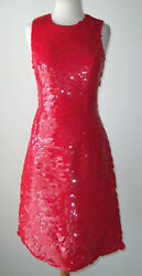 MICHAEL KORS COLLECTION Red Silk Paillette Sequin Dress 2 4
