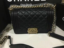 Le Boy Small Black Quilted Lambskin Shoulder Bag with Gold HW