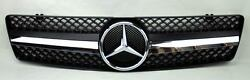 1 Fin Front Black & Chrome Hood Sport Grill for Mercedes SL Class R129 W129