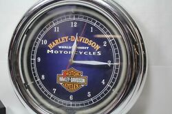 Harley-davidson Clock With Blue Neon Harley Collectible Ep22079