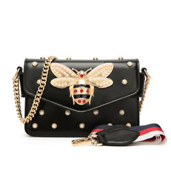 Bag Bee Women Rhinestones Leather Shoulder Small Crossbody with Chain For Girls