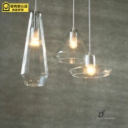 Modern Crystal Glass Pendant Lamps Study Sitting Room Ceiling Lights Single-end